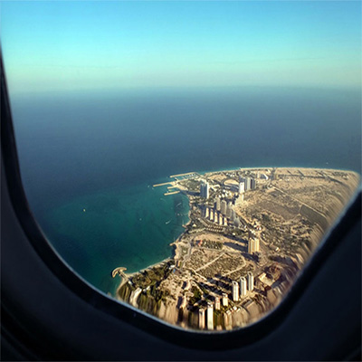 Kish Island from inside the plane window