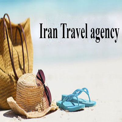 A bag with a hat and sunglasses called Iran Travel Agency